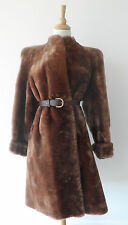 Vintage 80s Brown Genuine Real Fur Lamb Shearling Wool Long Sweep Coat Jacket M