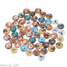100PCs Round Halloween Glass Flatback Scraphook Cabochons for Phone DIY Craft