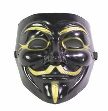 Black V for Vendetta Guy Fawkes Anonymous Costume Halloween Cosplay Protest Mask