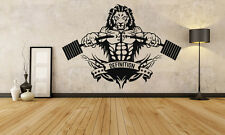Wall Decor Vinyl Sticker Mural Decal Art Gym Fitness Lion Logo Workout FI1168