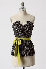 EUC Odille for Anthropologie Winged Victory Peplum Top w/Sash Polka Dot Size 4