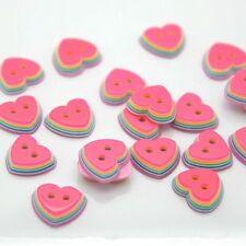 50* Candy color heart button, DIY 2 holes,11mm, Plastic sewing Button for craft