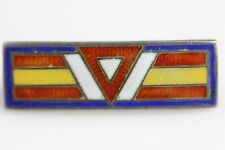 VINTAGE MILITARY Sterling Silver BLUE RED YELLOW WHITE ENAMEL PIN MEDAL- 1.5 GR