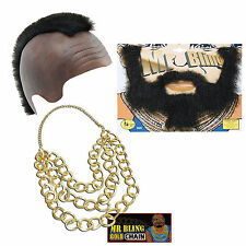 Mr T Fancy Dress A Team BA Bling Mohawk Beard Gold Chain Mercenary Mens 80's new