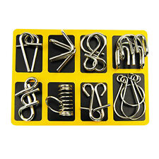 8PCS/Set Metal Wire Puzzle IQ Mind Brain Teaser Puzzle Game For Adult & Kids
