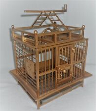 ANTIQUE OLD VINTAGE GOLD GUILDED SMALL BIRD CAGE, PLAY STAND fully functional