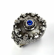 Men's Custom Silver Fleur De Li Shield King Castle Ring With Blue Sapphires