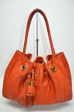 Roberta Gandolfi Italian Designer Orange Small Drawstring Tassle Tote Satchel