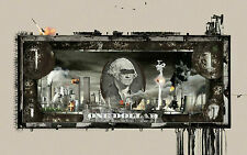 Framed Print - US One Dollar Bill Covered in Graffiti (Picture Paper Money Coin)