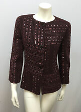 CHANEL SEQUIN JACKET BORDEAUX WINE METALLIC THREADS HOLIDAY STYLE SIZE 40