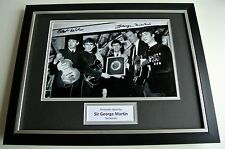 Sir George Martin SIGNED FRAMED Photo Autograph 16x12 display Beatles Music COA