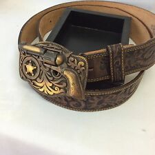 Vintage Leather Belt & Pistol Buckle Justin Western Cowboy Gun Rodeo