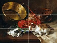 Kittens and lobster Tile Mural Kitchen Bathroom Wall Backsplash Art 24x18