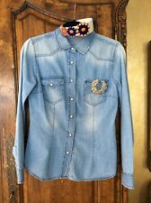 Zara Denim Shirt Size Med With Remove able Silver Brooch And Jeweled Headband