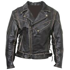 VINTAGE CLASSIC DISTRESSED TERMINATOR BRANDO MEN'S BIKER COW LEATHER JACKET