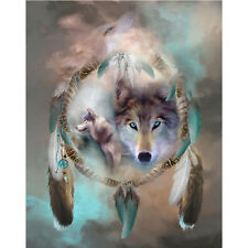 WOLF DREAMCATCHER ROUND DIAMOND PAINTING KIT 5D CROSS STITCH 23 x 28CM *NEW*