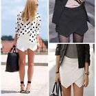 Fashion Women Tiered Wrap Asymmetric Shorts Culottes Skort Invisible Mini Skirt