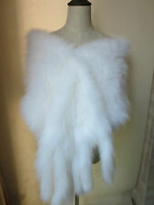 Opulent Sophisticated women's real Fox fur knitted cape /shawl/scarf 180*32white
