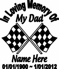 IN LOVING MEMORY OF MY DAD PERSONALIZED CUSTOM VINYL DECAL STICKER CAR TRUCK