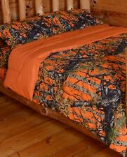 The Woods Queen Orange 7 Piece Bedding Set Comforter and Sheets Camo Camoflague