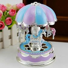 New Kids Girl LED Horse Carousel Music Box Toy Clockwork Musical Christmas Gift