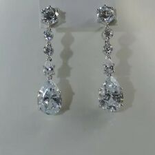 Platinum Plated 925 Sterling Silver Drop Earrings Set With Big Created Diamonds