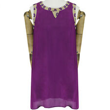 Giles Deacon Purple Taupe Lip Pattern Mesh Edged A-Line Shift Dress IT38 UK6
