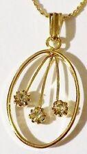 pendentif chaine biou vintage couleur or ovale solitaires cristal diamant * 4984