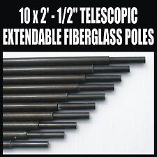 """X10 2' X 1/2"""" Postes De Fibra De Vidrio Extensible Telescópico Amateur Ham Radio Antena"""