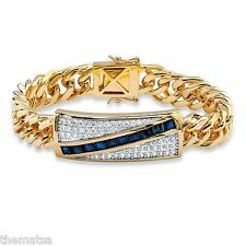 "MENS 14K GOLD 5.70 TCW BLUE SAPPHIRE 8"" CHANNEL SET CZ BRACELET  GP"