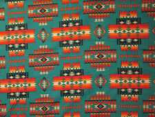 Navajo Indian Multi II  Orange Black Teal Print Cotton Fabric FQ