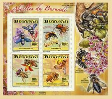 Burundi 2014 Mnh Abejas 4v Deluxe m/s Insectos Flores Abeilles