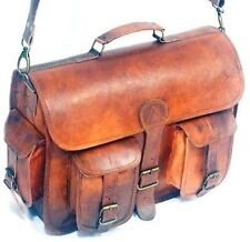 Vintage Brown Messenger Bag Men's Leather Shoulder Laptop Bag Briefcase Satchel