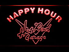 Hot Rod Garage Happy Hour Bar LED Neon Light Sign Man Cave 644-R