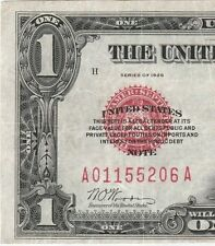 Circulated 1928 $1 United States Note--Red Seal, Ships Ins. Free, Legal Tender