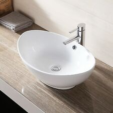 Ceramic Bathroom Sink Porcelain Vessel Vanity Basin Bowl white w/Pop Up Drain