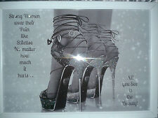 Glitter Shoe Canvas wall art picture Black, White or Silver Frame A4