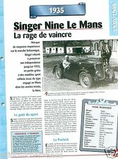 Singer Nine le Mans Sport 4 Cyl. 1935 UK England Car Auto Retro FICHE FRANCE