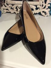 New Michael Kors Black Patent Leather Pointy Toe Dress Flats Shoes Sz 8.5