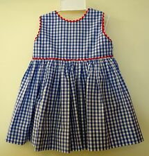 New Bella Bliss Blue Gingham W/Red Trim Button Back Dress & Bloomers ~ Sz 9M