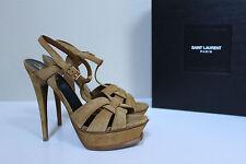 New sz 9 / 39 YSL Yves Saint Laurent Tribute Tan Suede Platform Sandal Shoes