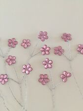 18 Tiny Pink Crystal Daisy On 6 Wire Stems Wedding Bridal Flowers Floral Craft