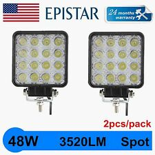 2pcs 48W 12V 24V LED Work Light Spot Light OffRoad ATV SUV 4.3'' Boat Jeep Truck