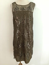 MAX STUDIO Sleeveless Dress Lacey Sequin Shell Matte Gold Brown Size S NWT $118