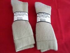 2 Pair Large Pocono Alpaca Merino Wool Heavy Hikers Crew Sock 9-12 Tan USA