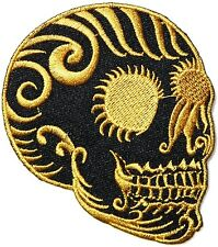 Gold Sugar Skull Tattoo Punk Rock Biker Jacket quality Patch Iron on EmbroidedFS