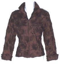 NWOT Beauitful SAMUEL DONG Swirl Pattern Jacket Zip Front Chocolate Brown Small