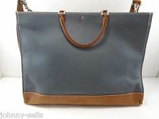 Lambertson Truex Blue Canvas Tan Leather Briefcase Tote Cross-Body Shoulder Bag