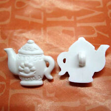 15 Teapot Tea Pot Novelty Kid Craft Sewing Buttons Scrapbooking White K218