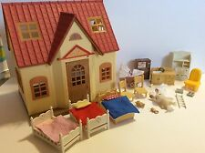 Calico Critters Bunny Rabbit Cozy Cottage House Furniture Beds Sink Stroller TV